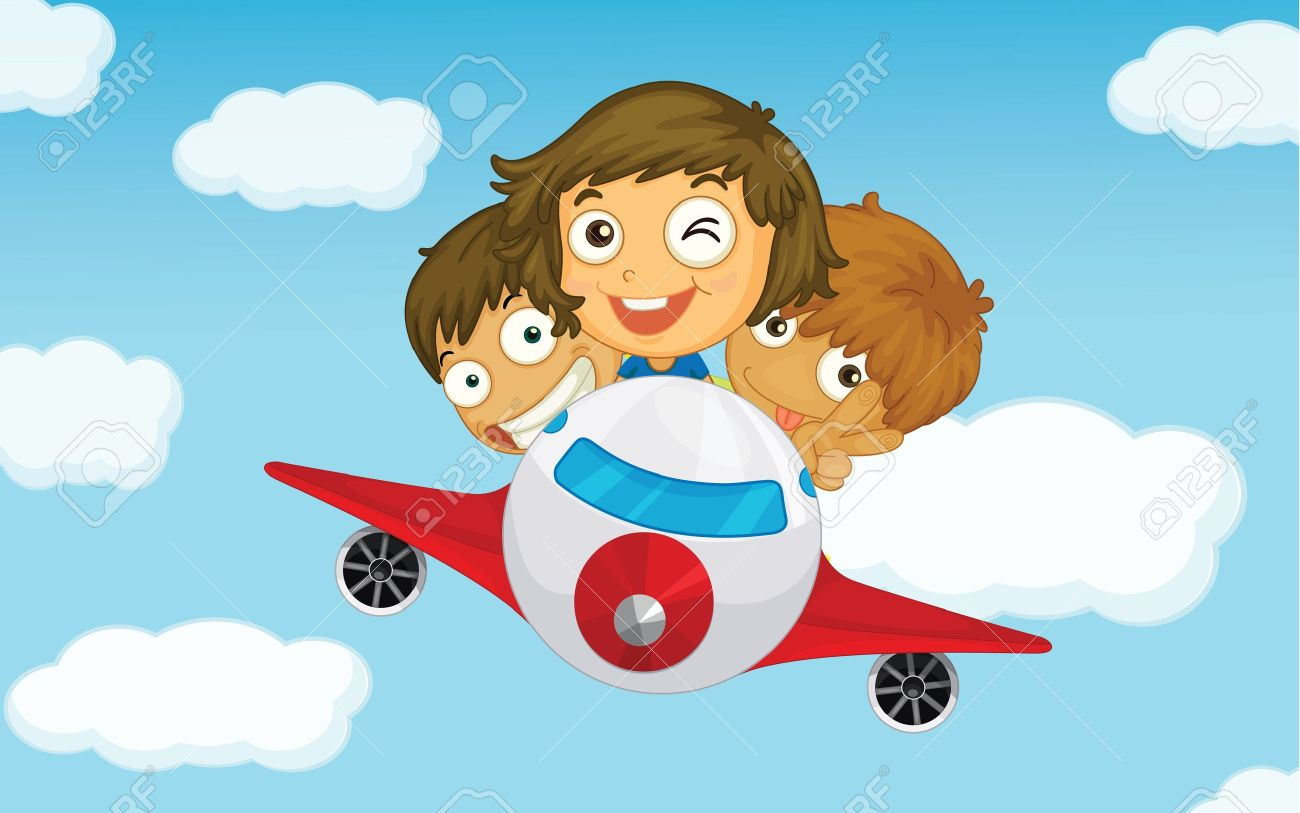 Illlustration of kids on a plane Stock Vector - 13776616