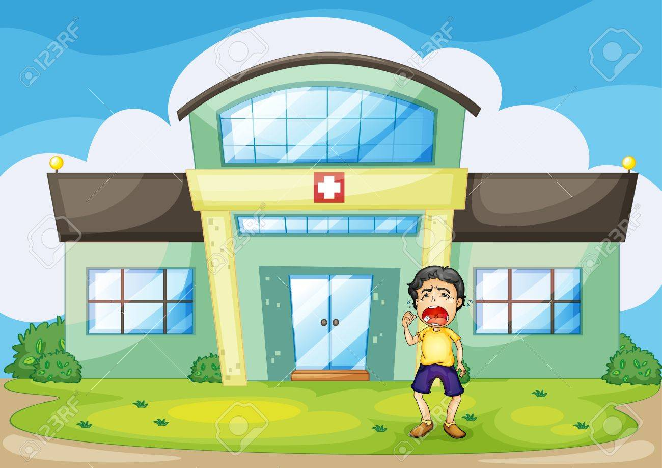 Illustration of a boy crying at hospital Stock Vector - 13800567