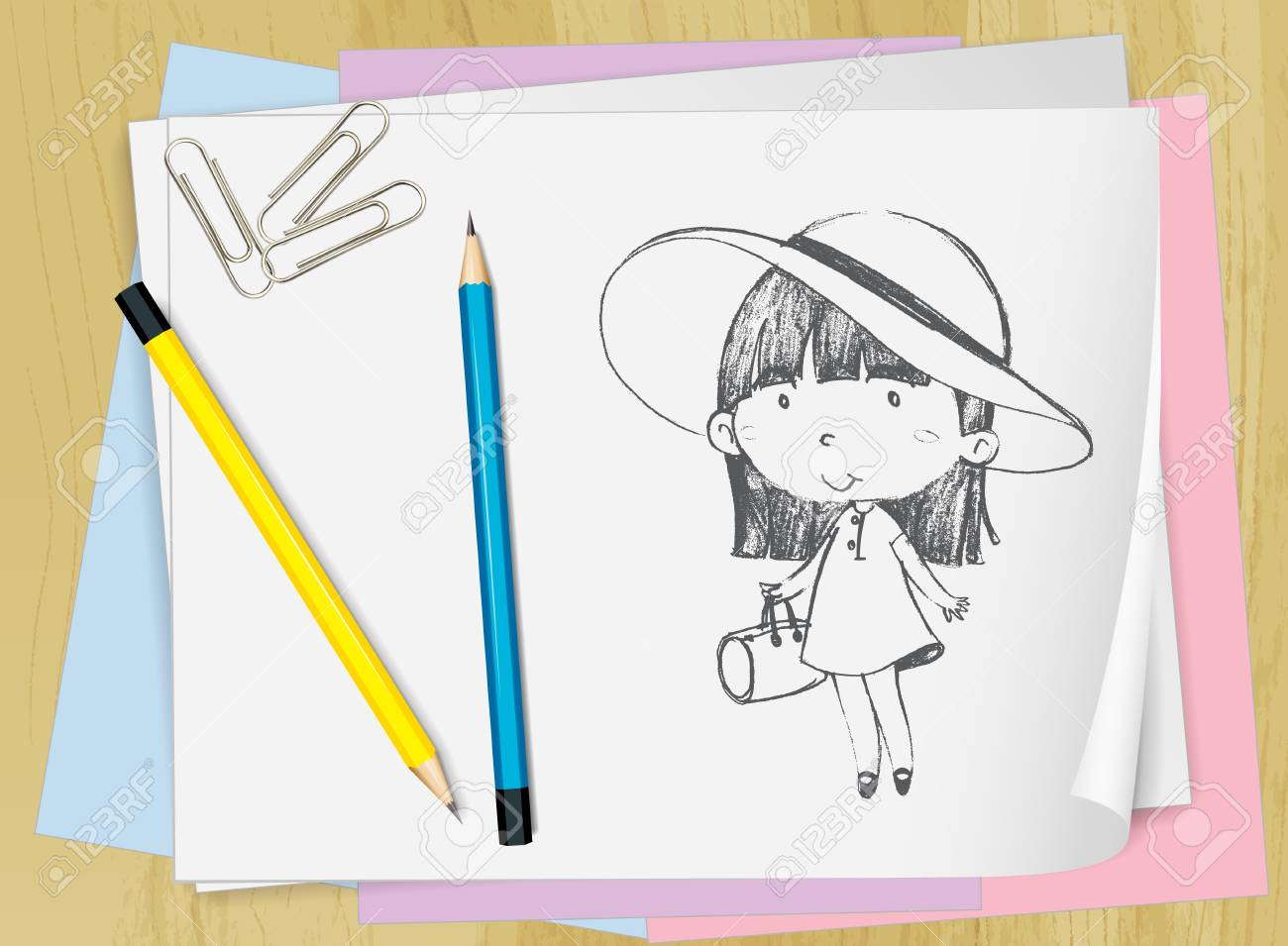 Illustration of a girl drawn on paper Stock Vector - 13800598