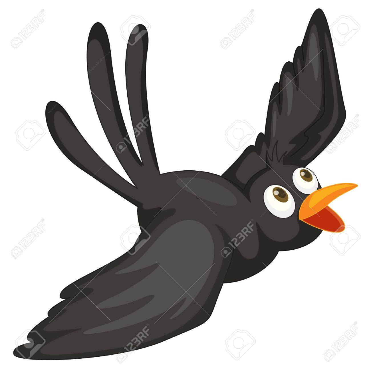 Illustration of a black bird on white Stock Vector - 13800482