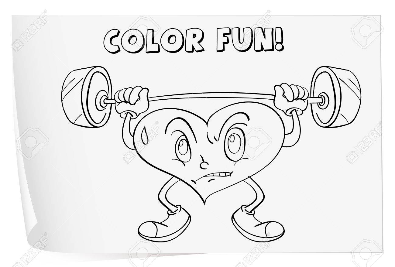 illustration of a colouring worksheet heart royalty free