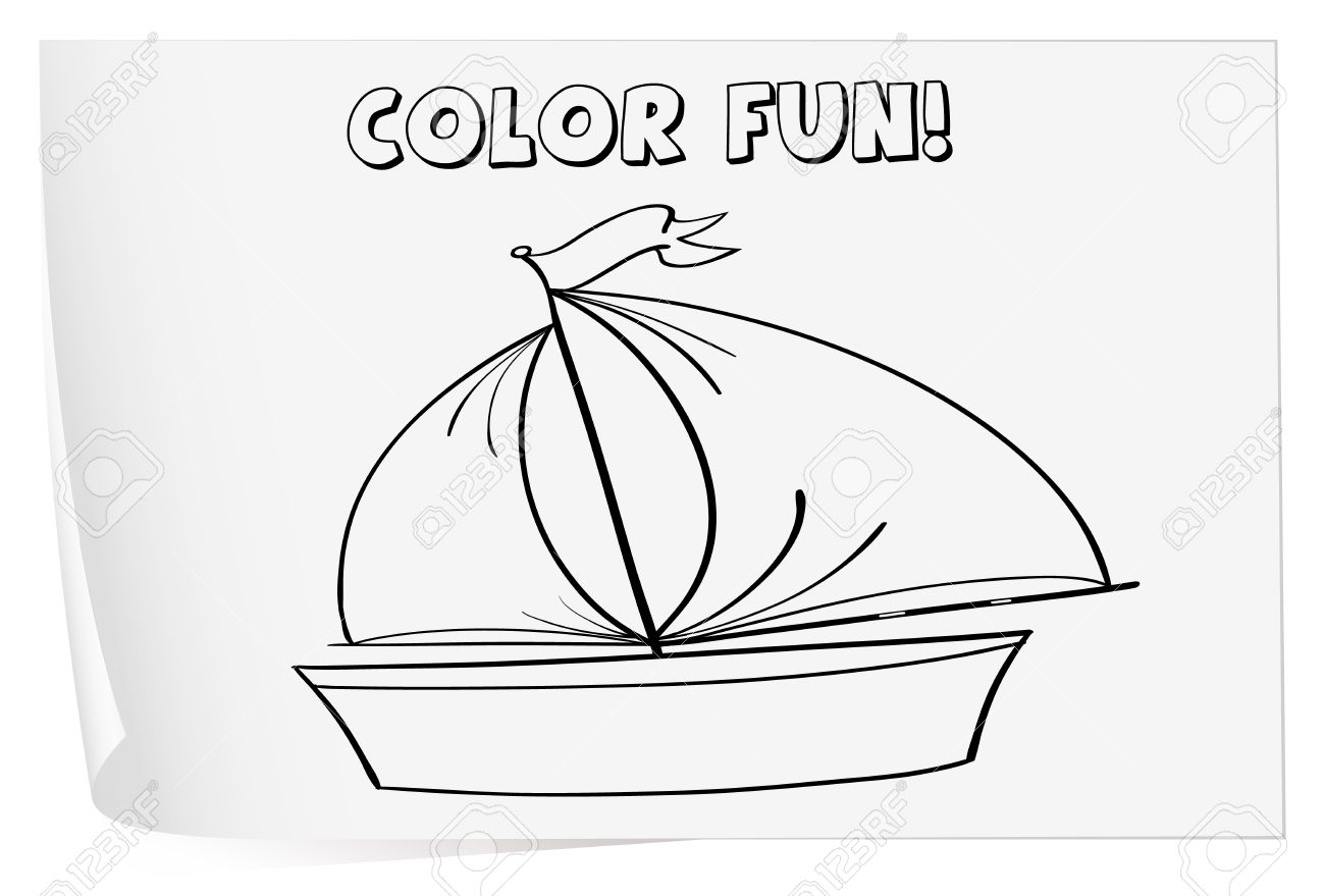 Colouring on worksheets - Illustration Of A Colouring Worksheet Boat Royalty Free Cliparts