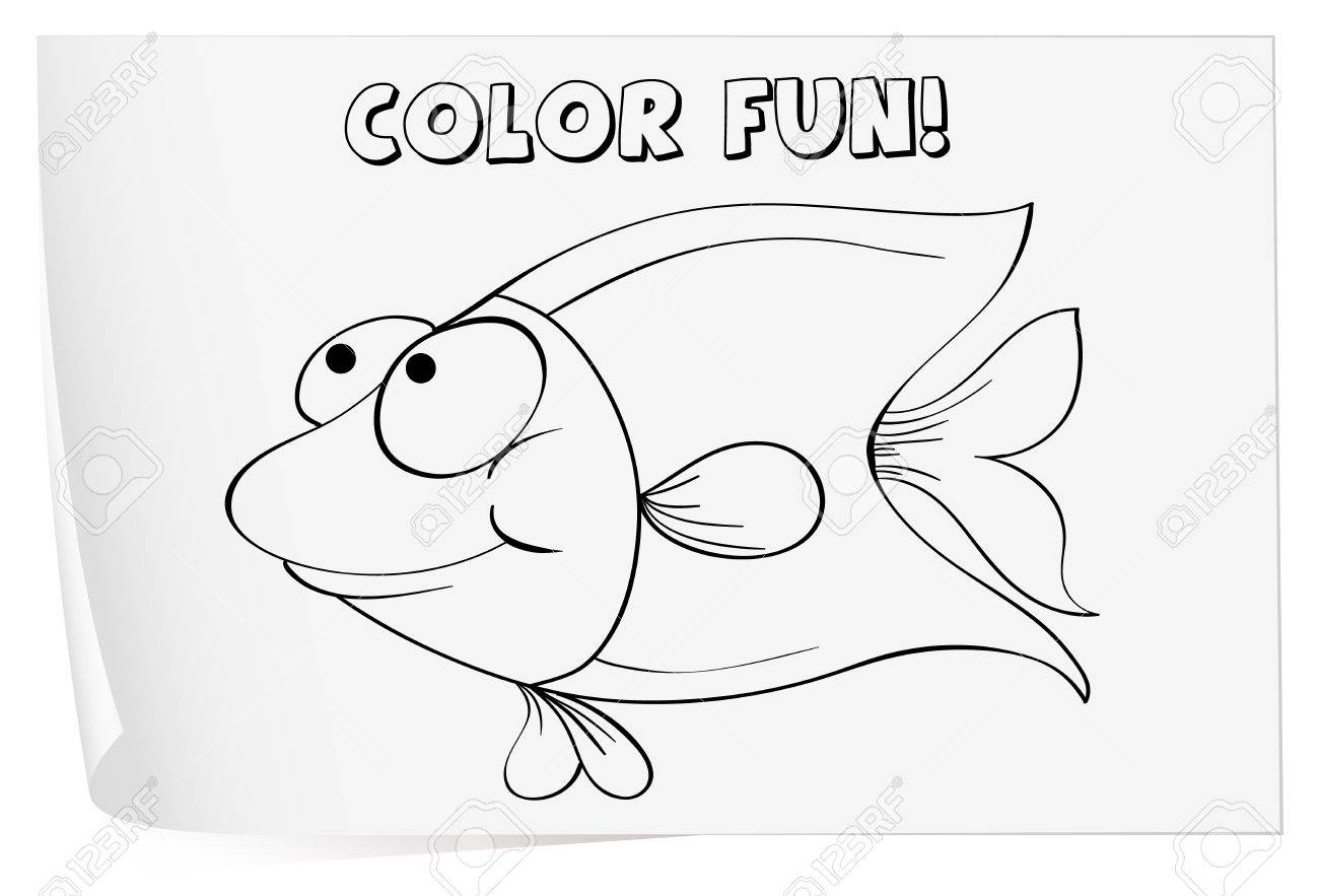 colour worksheet of a fish royalty free cliparts vectors and