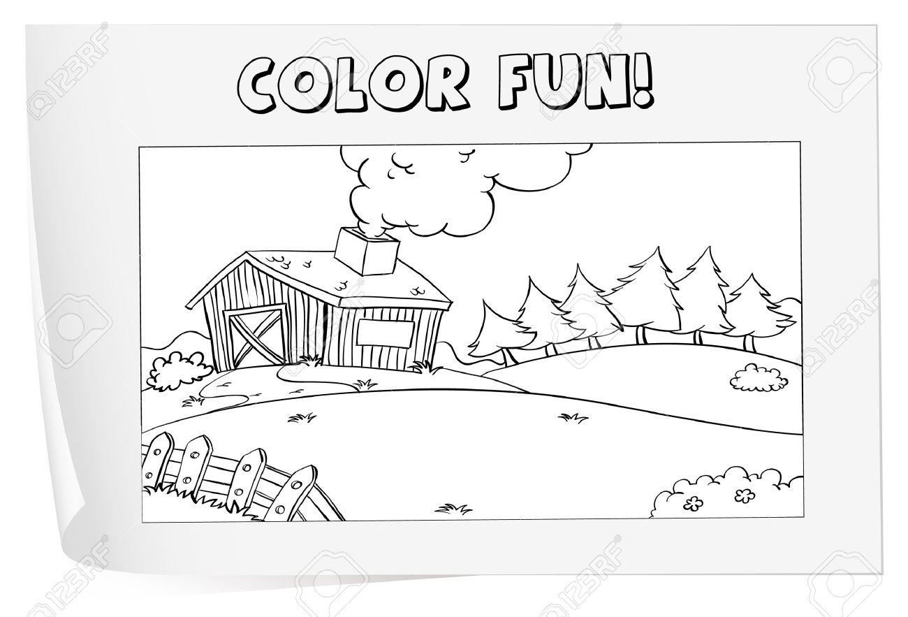 Ilustración De Una Hoja Para Colorear (la Granja) Ilustraciones ...