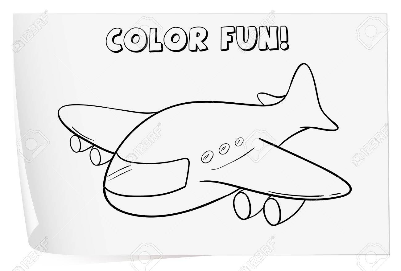illustration of a colouring worksheet plane royalty free