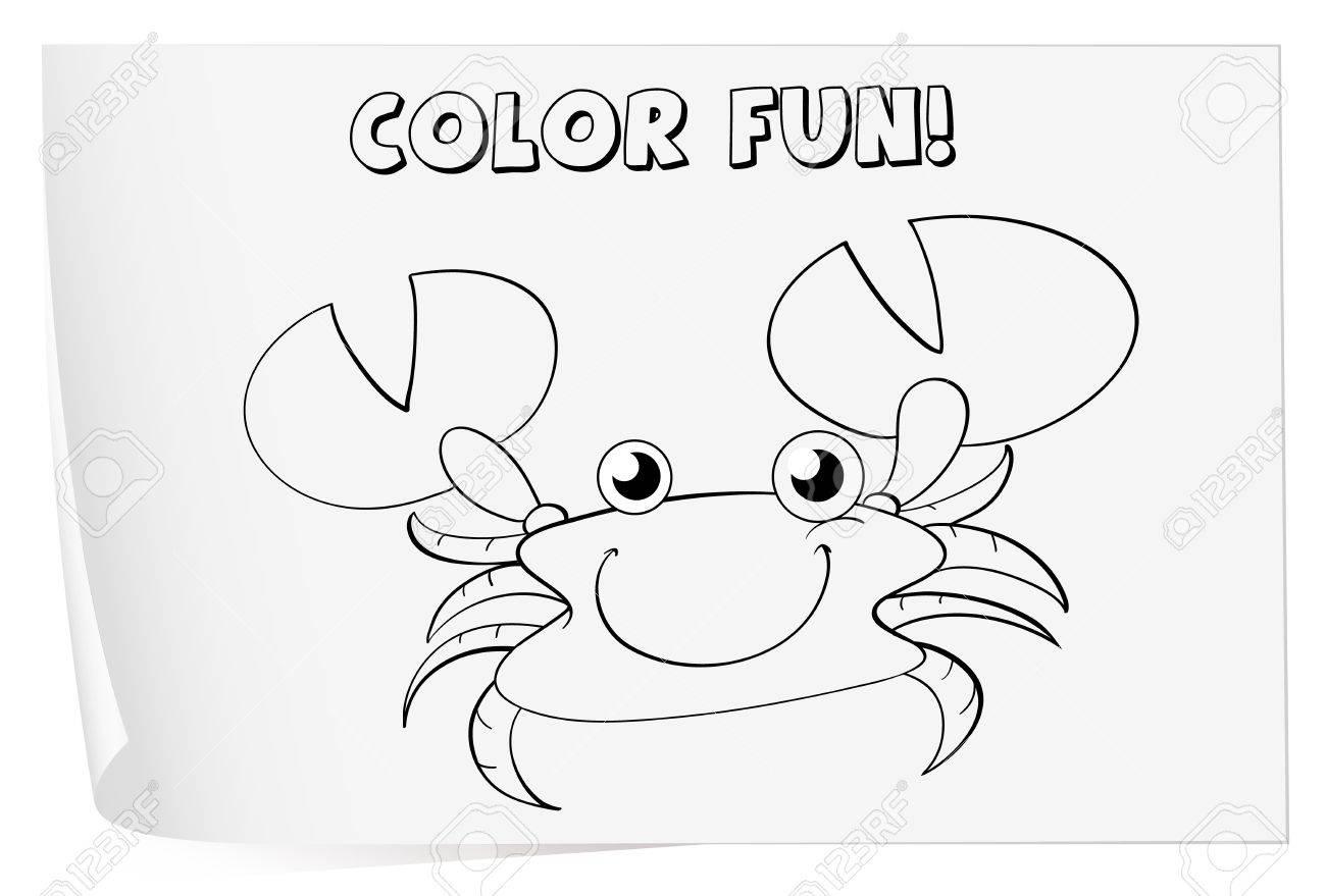 Ilustración De Una Hoja Para Colorear (cangrejo) Ilustraciones ...