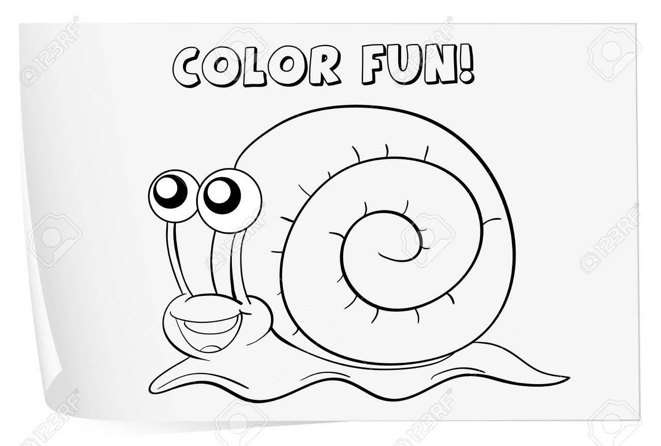 Ilustración De Una Hoja Para Colorear (caracol) Ilustraciones ...