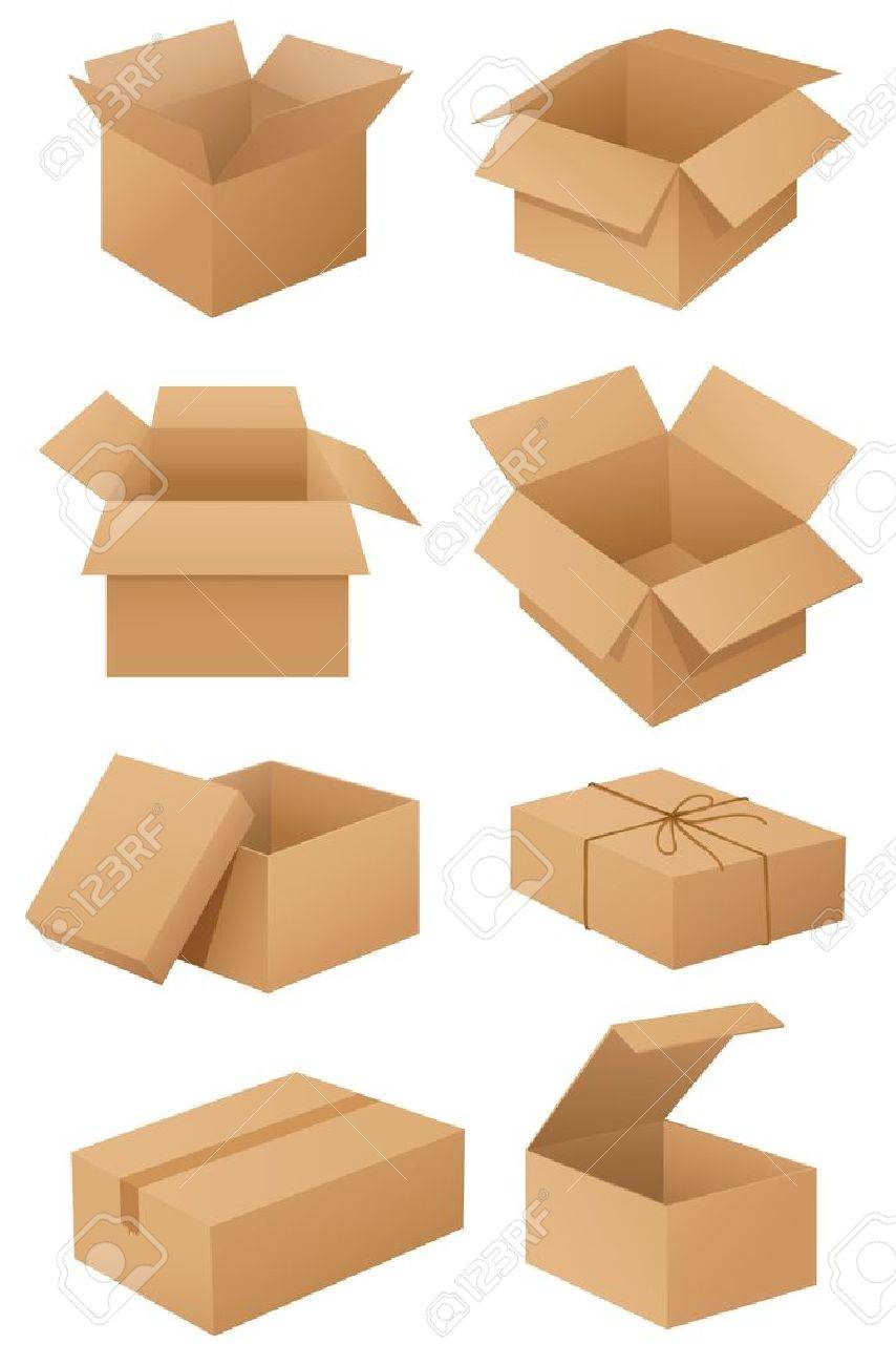 Illustration of cardboard boxes on white Stock Vector - 13832235