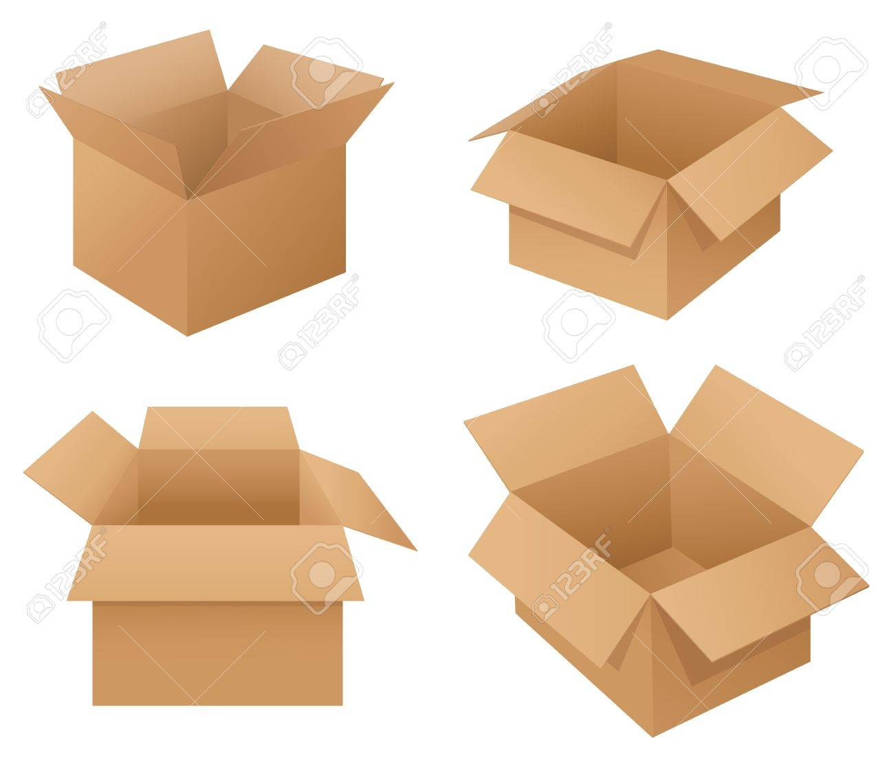 illustration of cardboard boxes on white royalty free cliparts