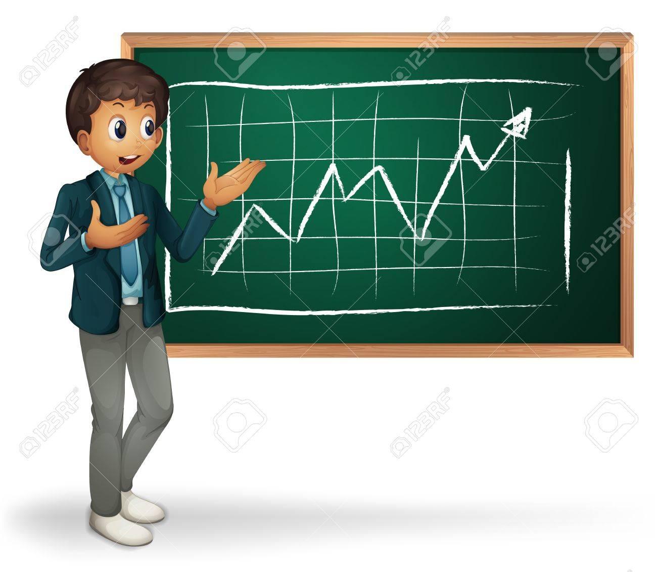 Businessman cartoon presenting on blackboard Stock Vector - 13832270