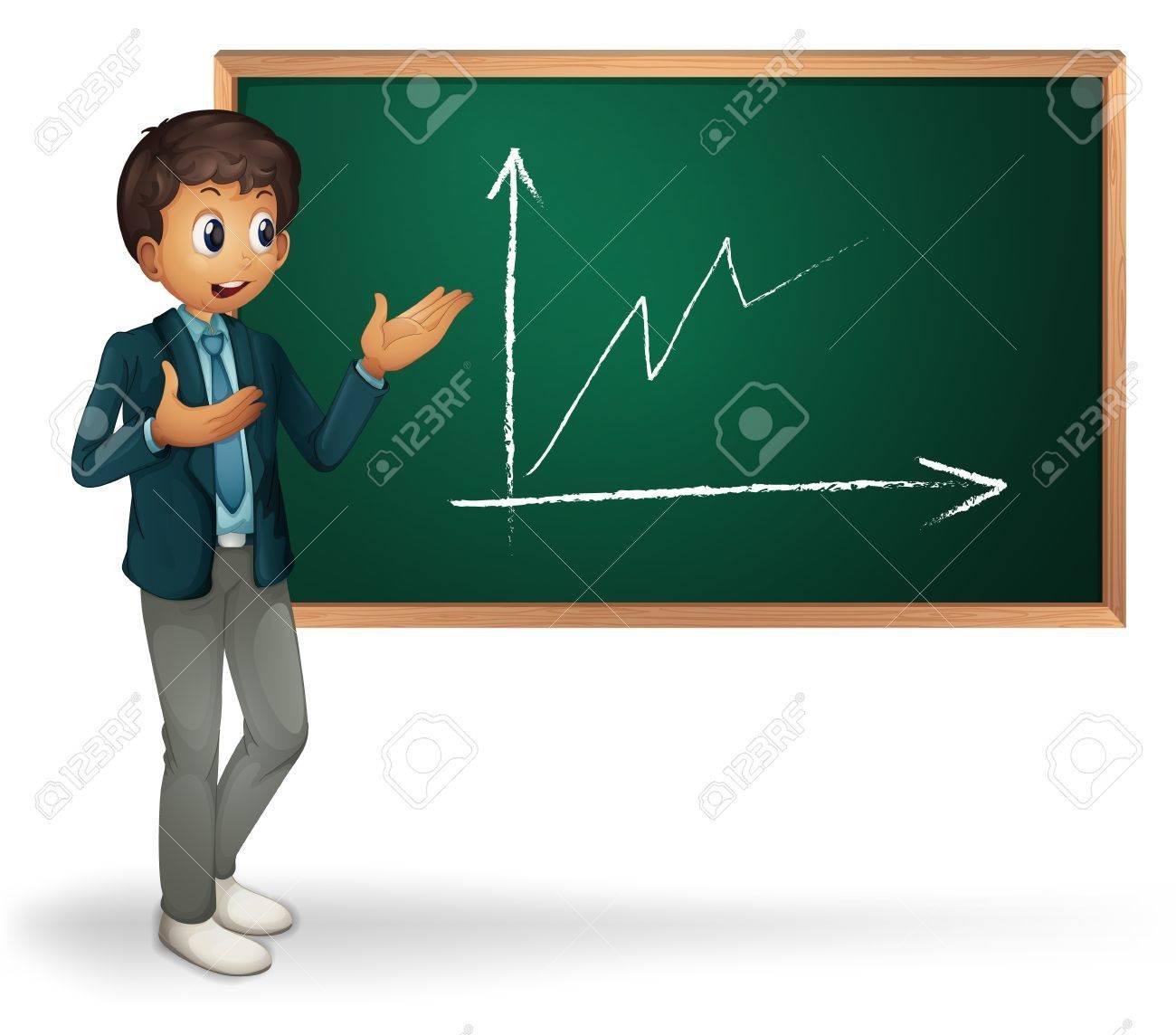 Businessman cartoon presenting on blackboard Stock Vector - 13832256