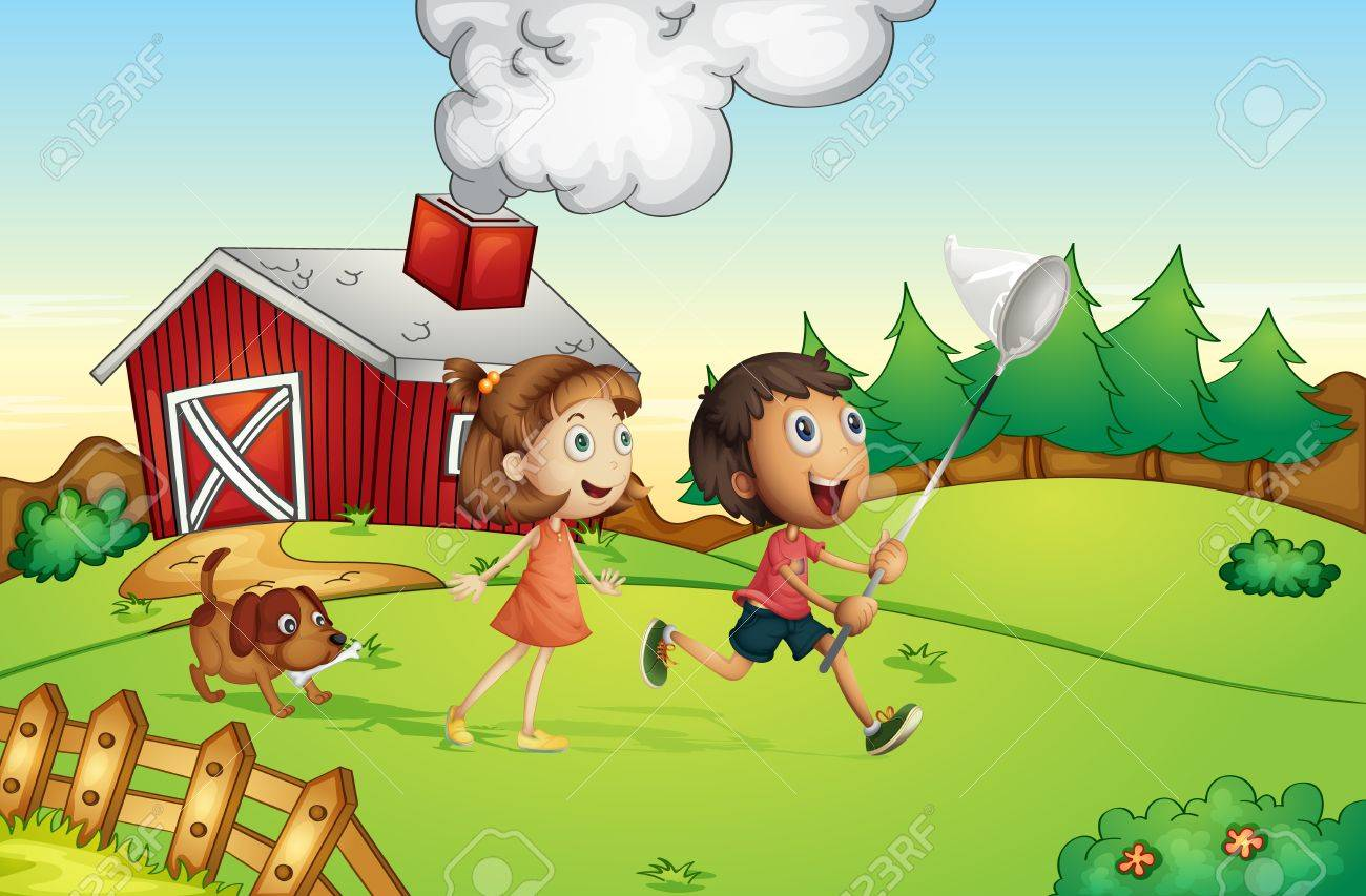 Illustration of kids at a farm Stock Vector - 13832296
