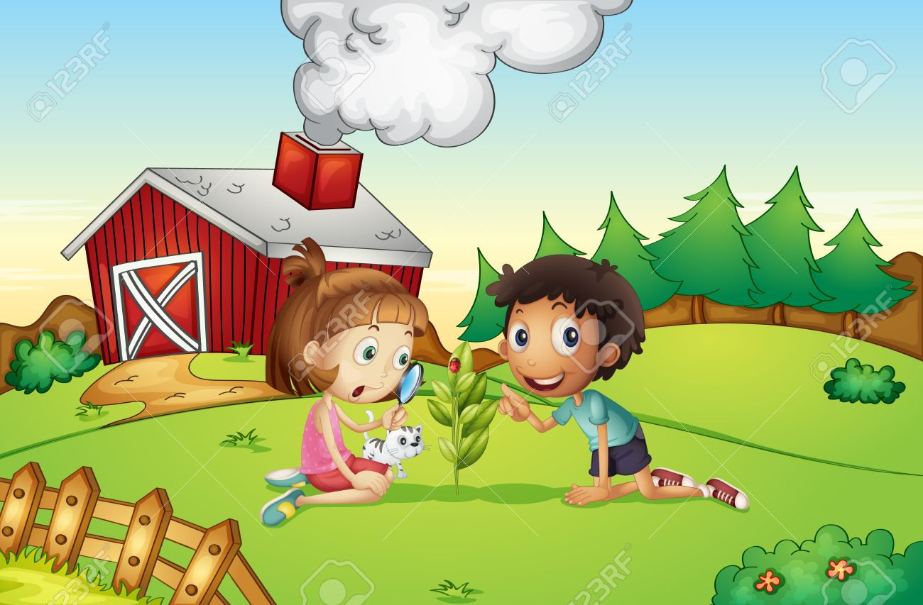 Illustration of kids at a farm Stock Vector - 13832314