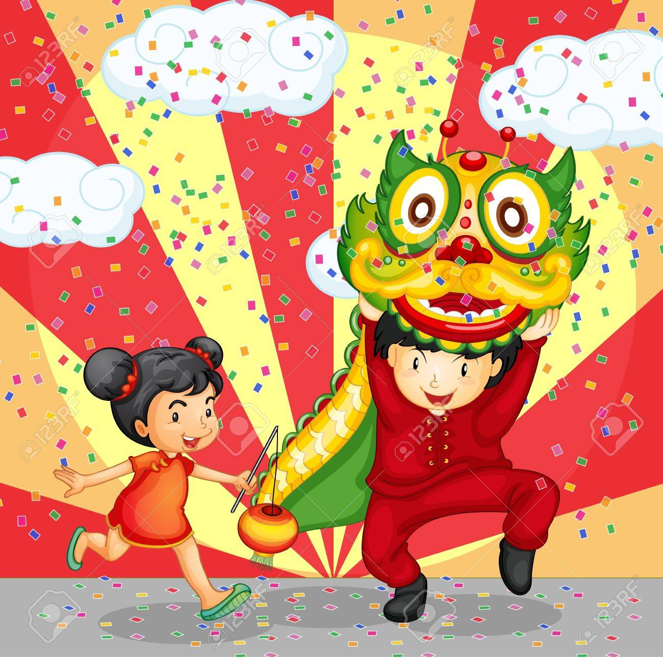Illustration of a chinese girl and boy Stock Vector - 13832298