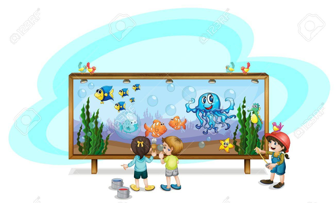 illustration of kids painting a banner stock vector 13832332