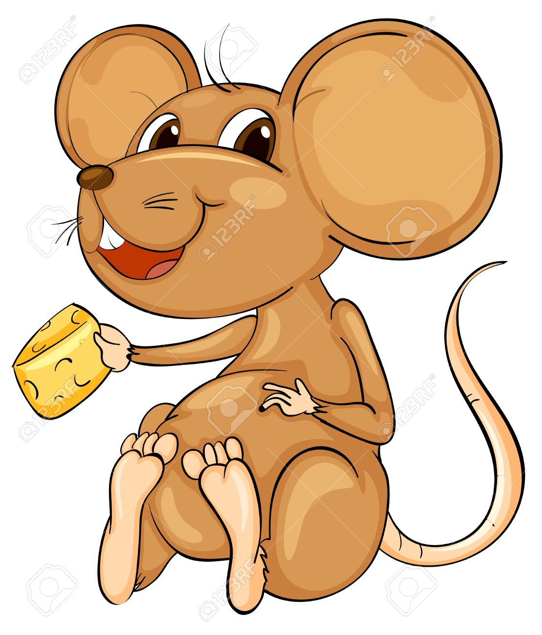 Cute cartoon mouse on white Stock Vector - 13858149