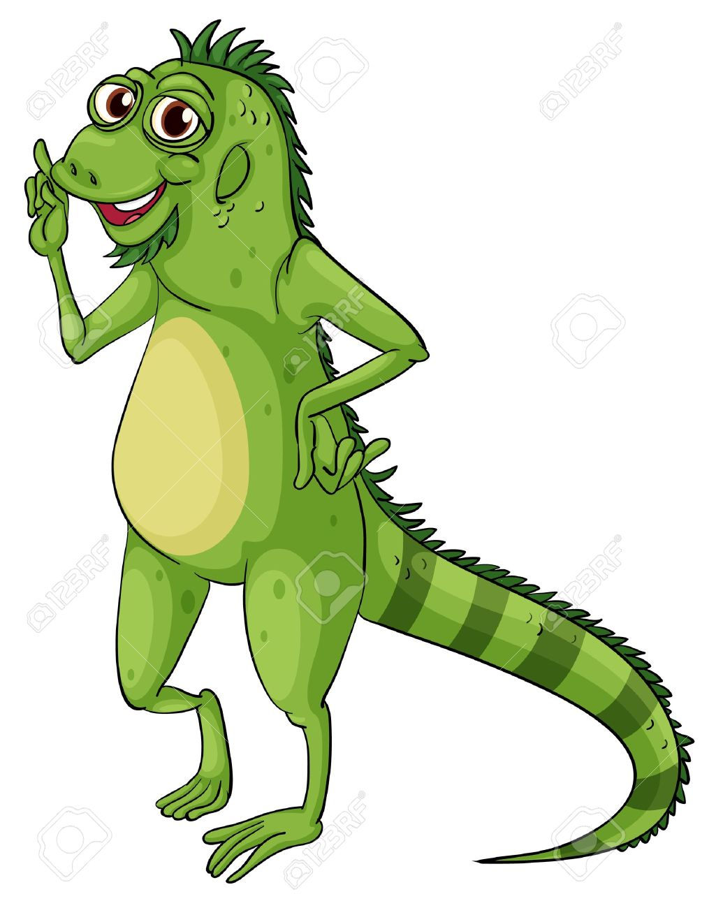 Green iguana on a white background Stock Vector - 13858172