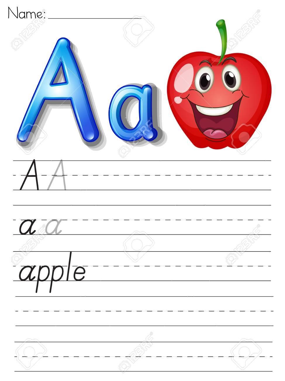 Alphabet worksheet on white paper Stock Vector - 13858776