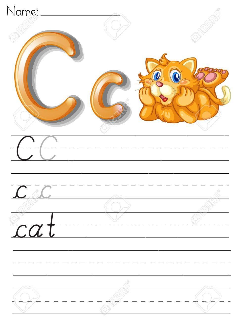 Alphabet worksheet on white paper Stock Vector - 13858703