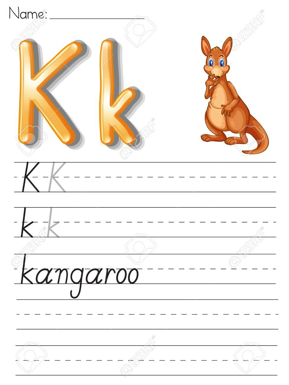 Alphabet Worksheet On White Paper Royalty Free Cliparts, Vectors ...
