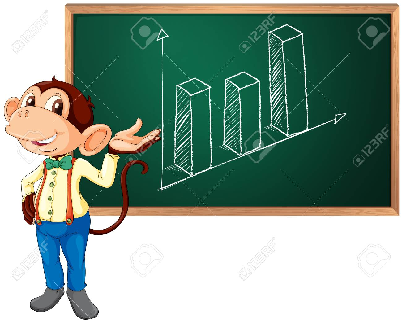 Business monkey presenting information Stock Vector - 13858857
