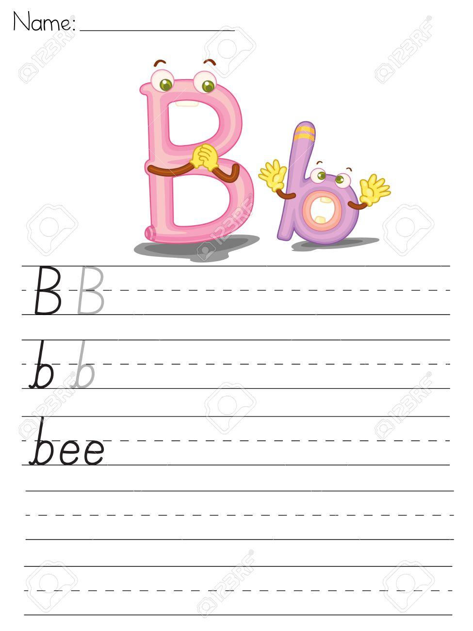 Illustrated alphabet worksheet of the letter b Stock Vector - 13892272