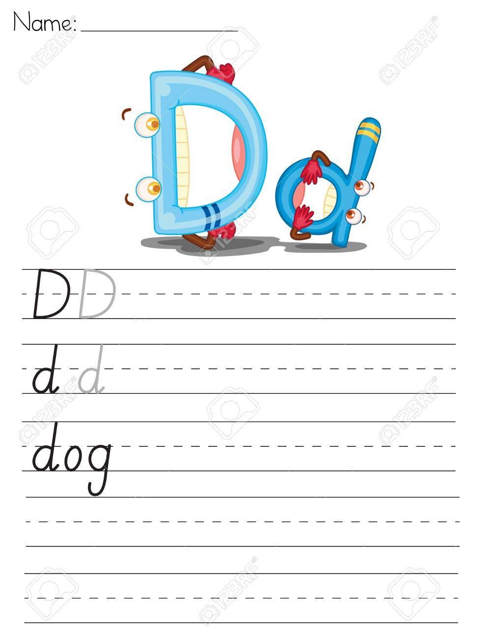 Illustrated alphabet worksheet of the letter d Stock Vector - 13892267