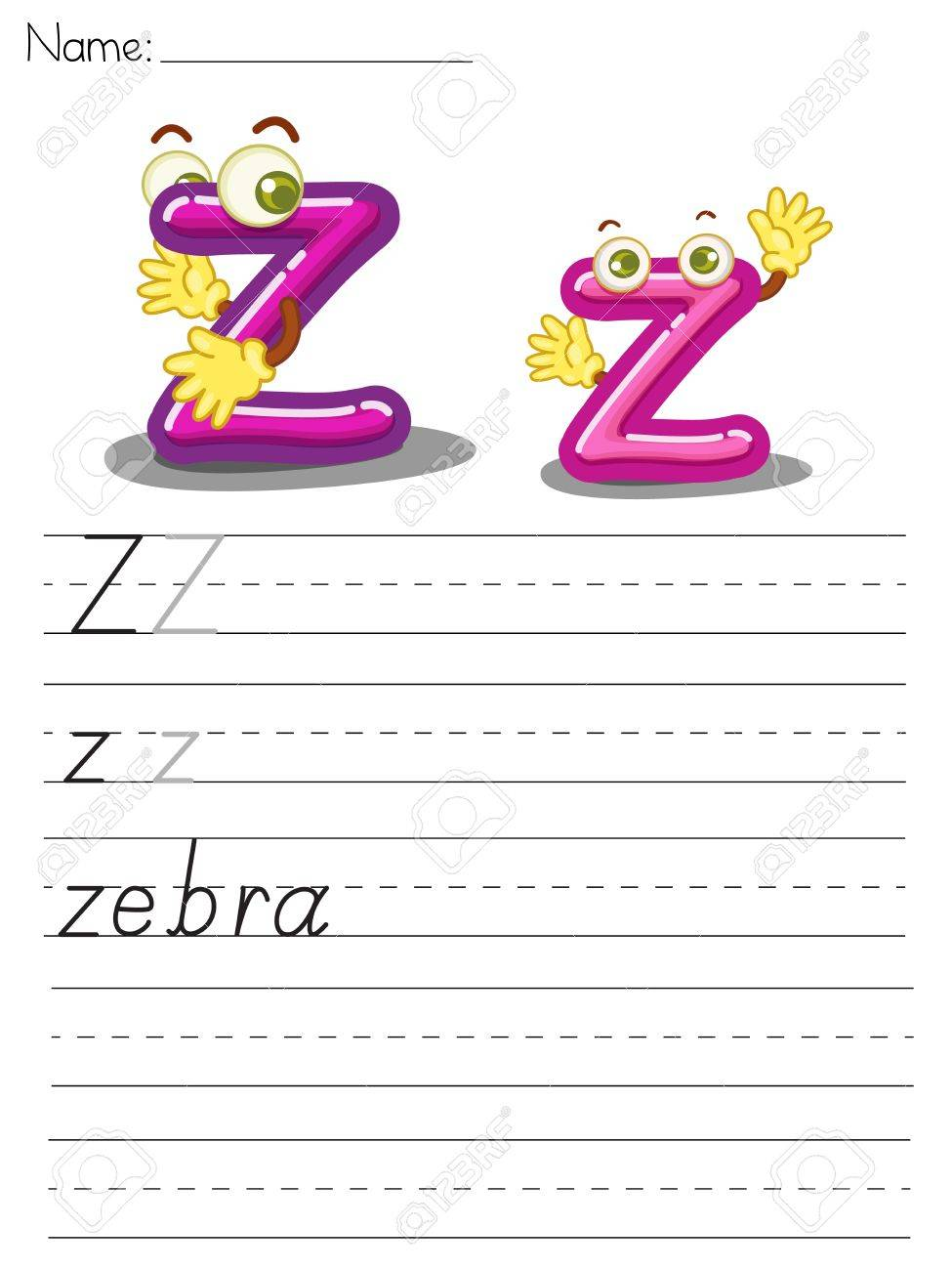 Illustrated alphabet worksheet of the letter z Stock Vector - 13892277