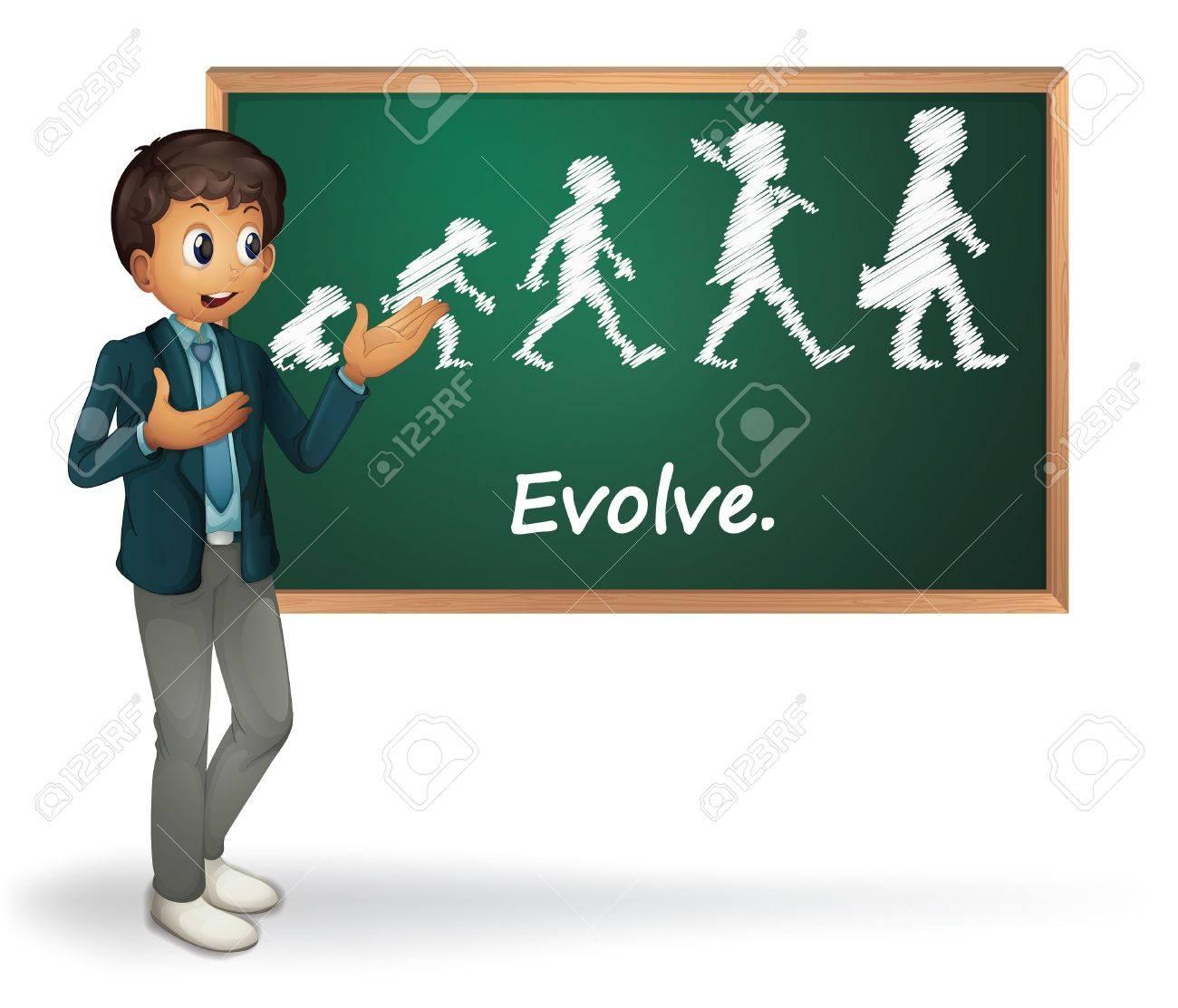 Illustration of a business man presenting evolution Stock Vector - 13892666