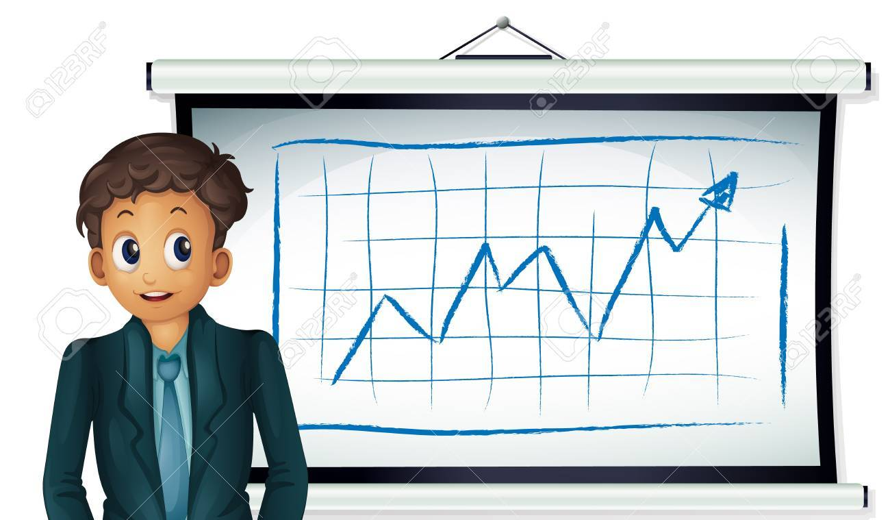 Illustration of a business man presenting a chart Stock Vector - 13892369