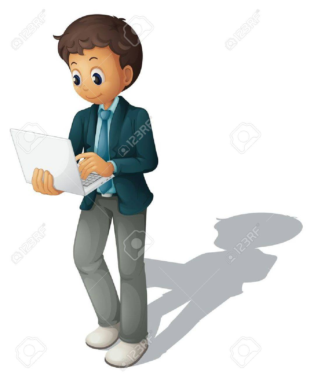 Illustration of a business guy using a computer - 13930767