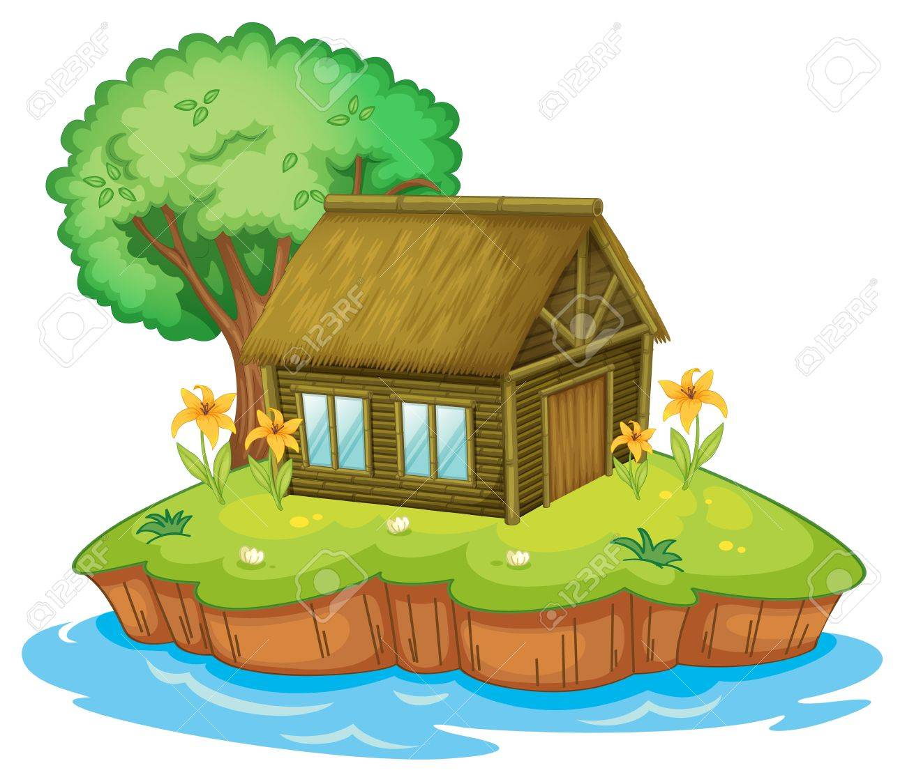 Illustration of a hut on an island Stock Vector - 13930806