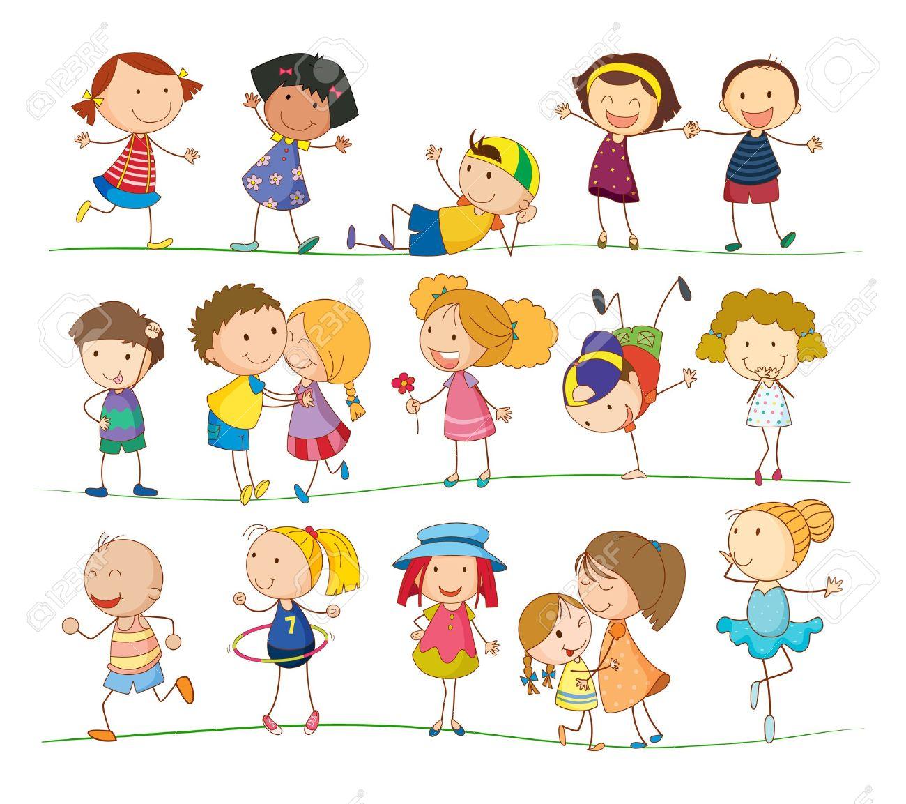 Ilustración De La Colección De Niños De Simples Ilustraciones ...