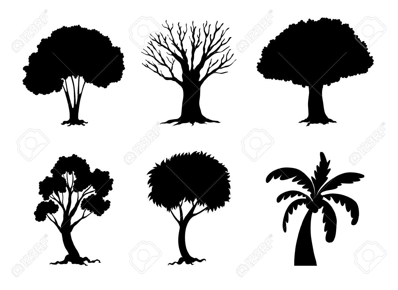 ilustración de siluetas de árboles y plantas ilustraciones
