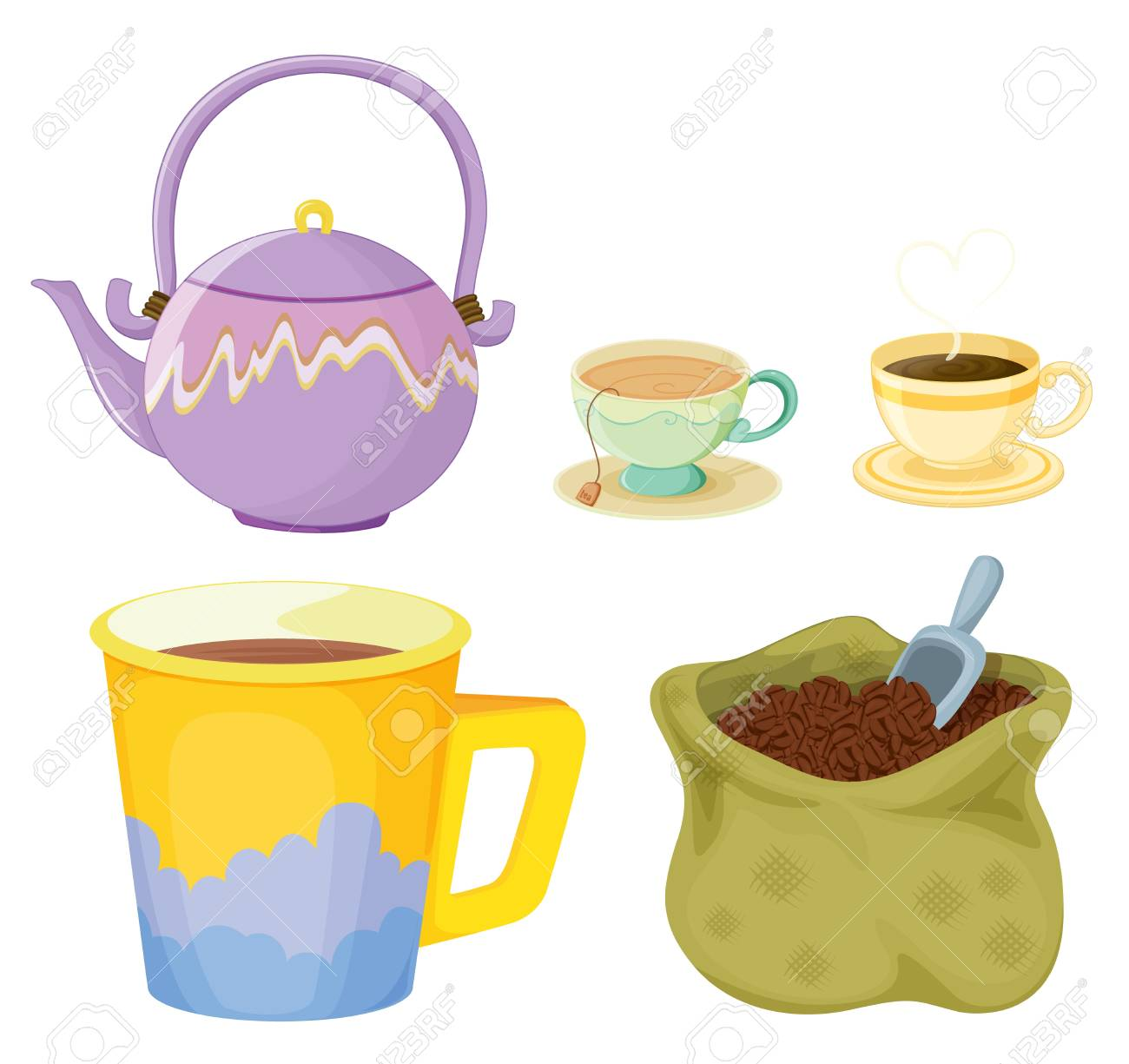 Illustration of tea and coffee items Stock Vector - 13930769