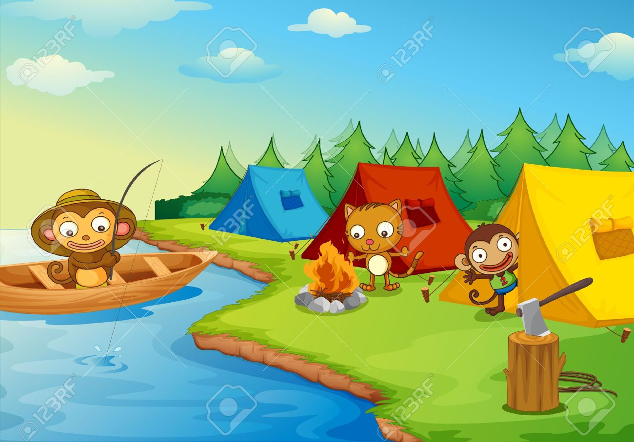 Illustration of camping animal characters Stock Vector - 13935200