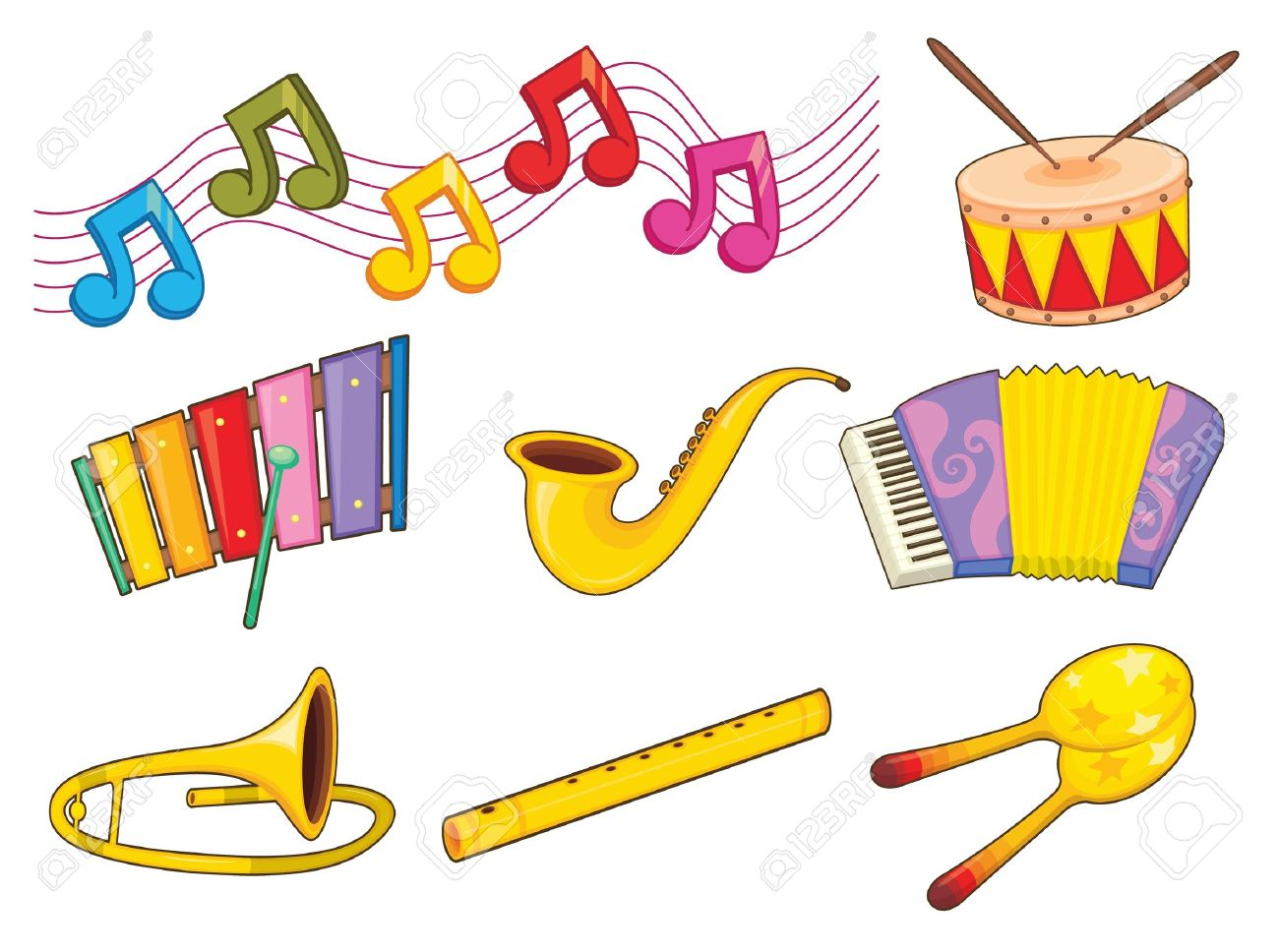 Illustration of mixed musical instruments Stock Vector - 13935076