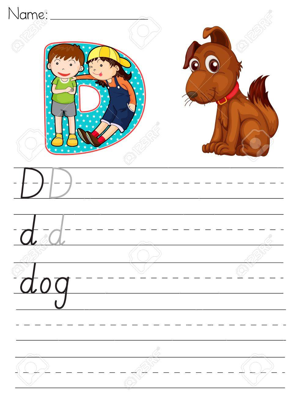 Alphabet worksheet of the letter D Stock Vector - 13935150