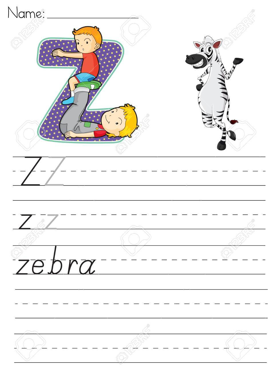 Alphabet Worksheet Of The Letter Z Royalty Free Cliparts, Vectors ...