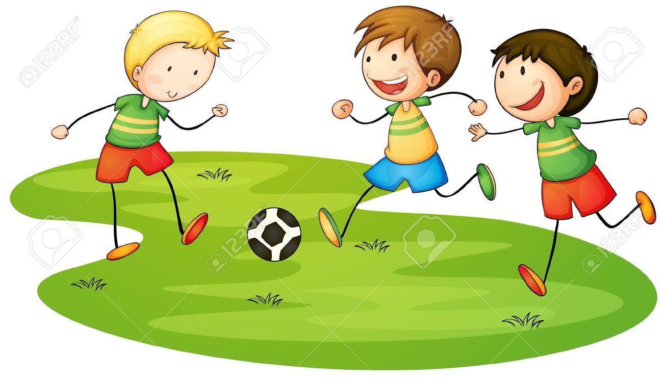 スポーツを遊んでいる子供のイラスト ロイヤリティフリークリップ