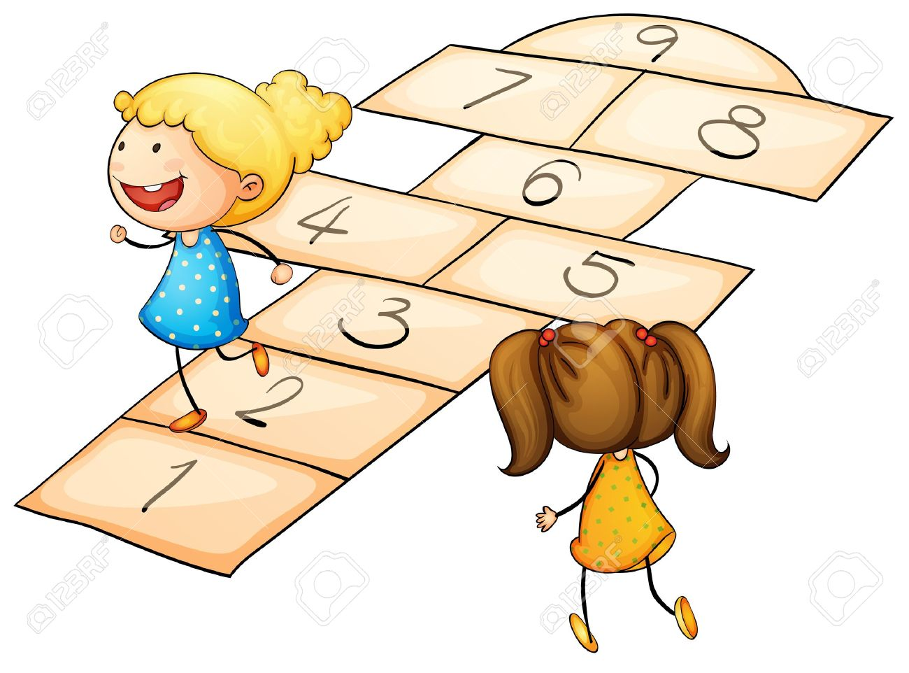 illustration of kids playing hopscotch royalty free cliparts