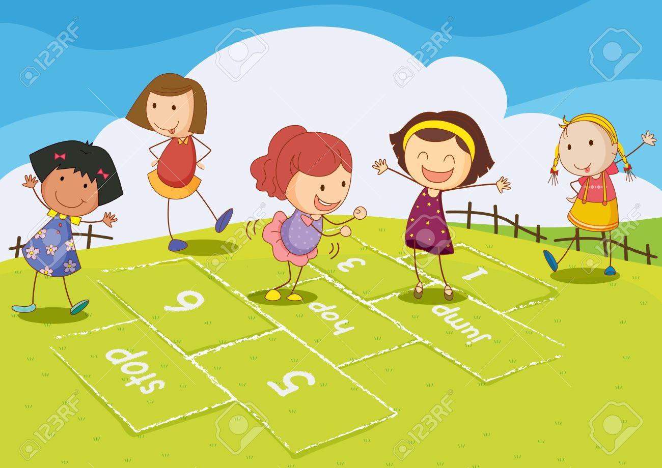 Ilustración De Niños Jugando A La Rayuela