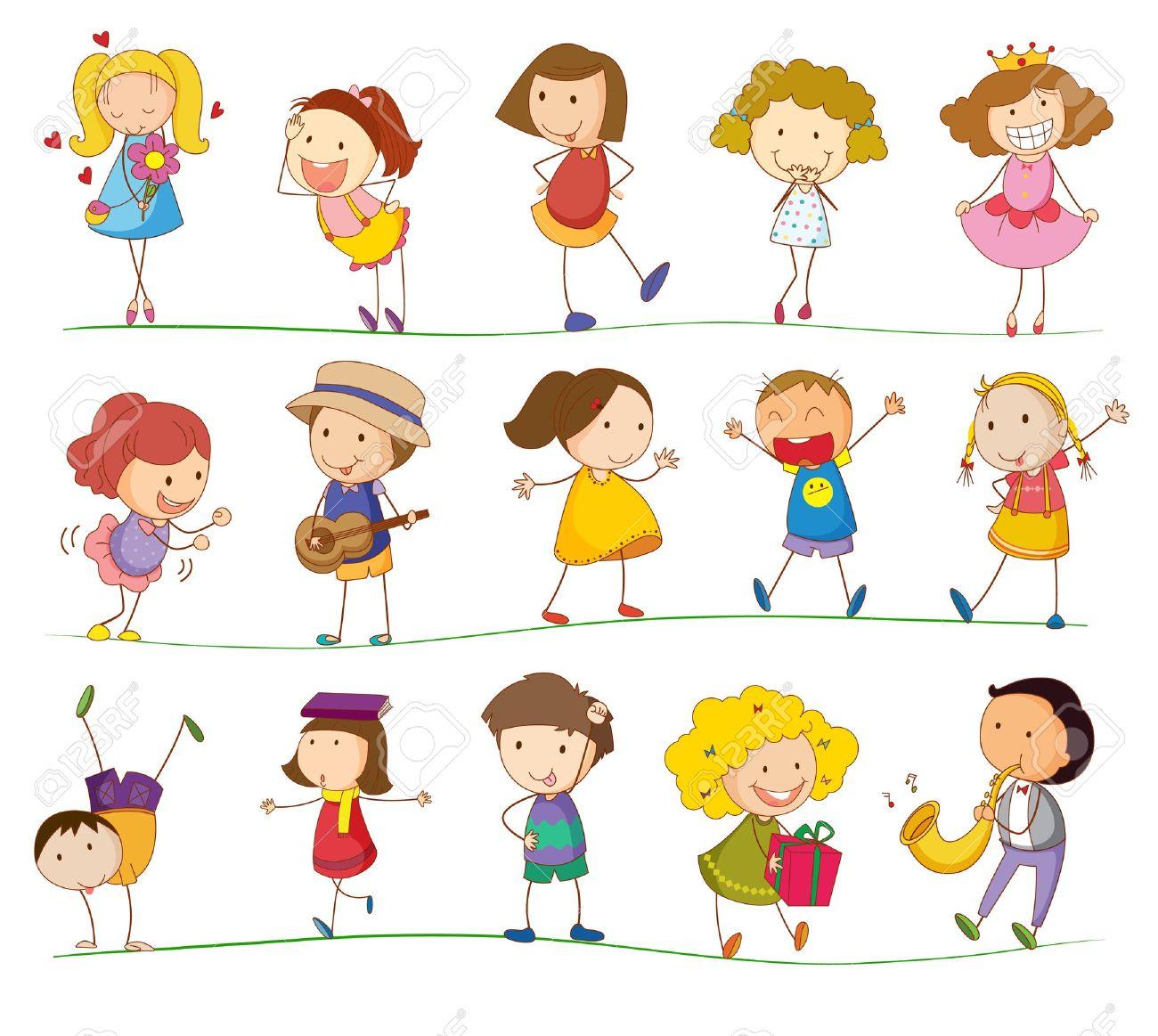 簡単な子供たちの演奏のイラストのイラスト素材ベクタ Image 13960961