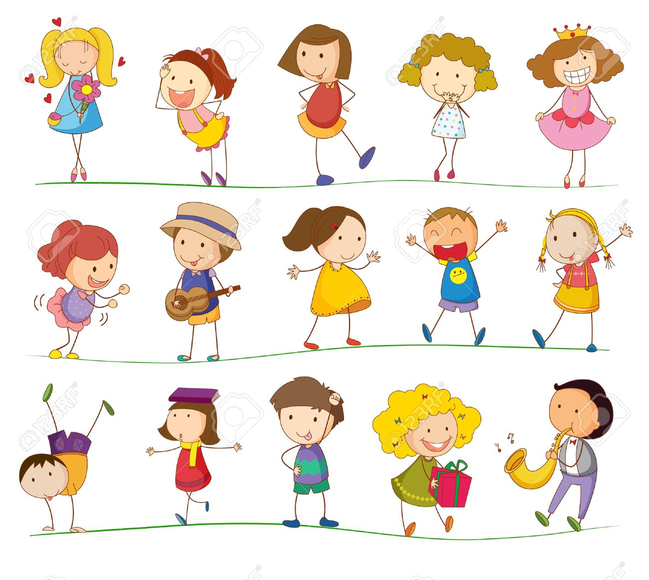 Illustration of simple kids playing Stock Vector - 13960961