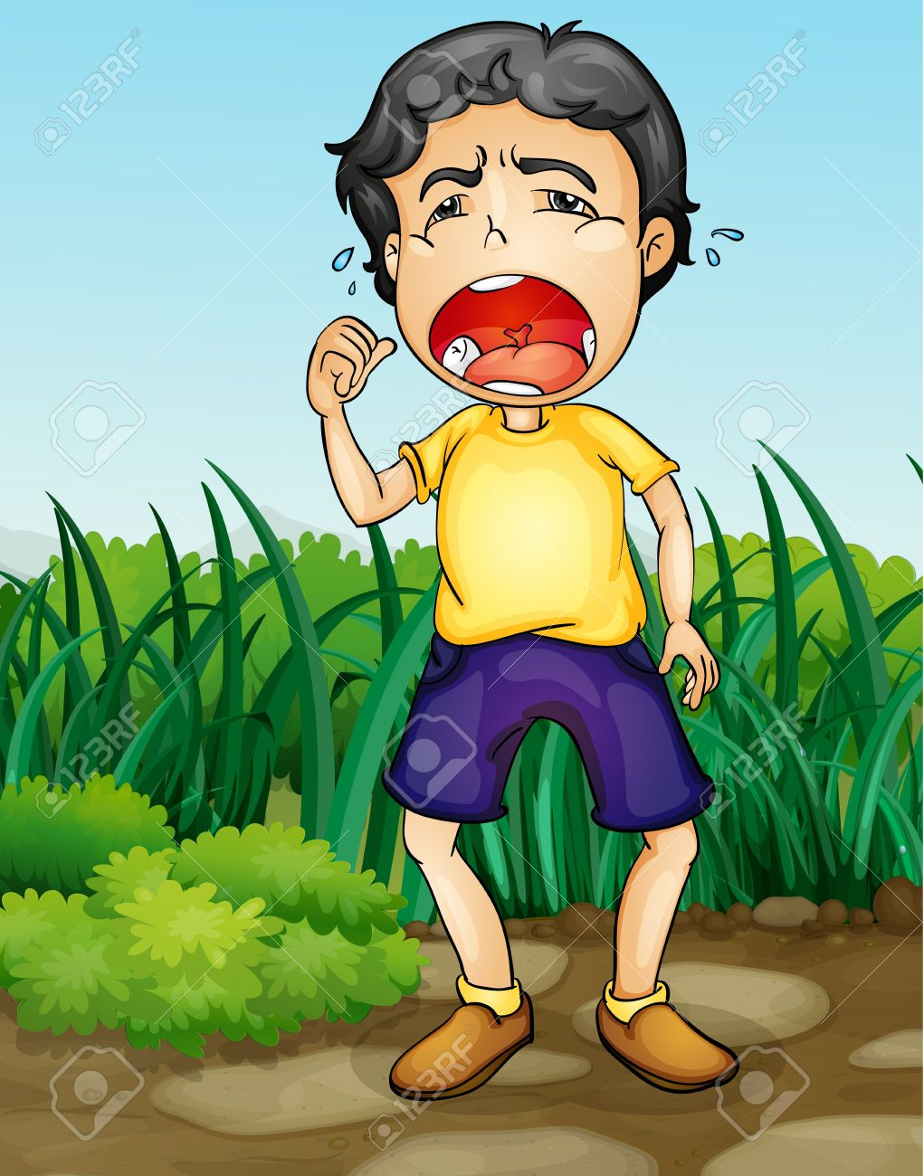 Illustration of a boy crying in a garden Stock Vector - 13974837