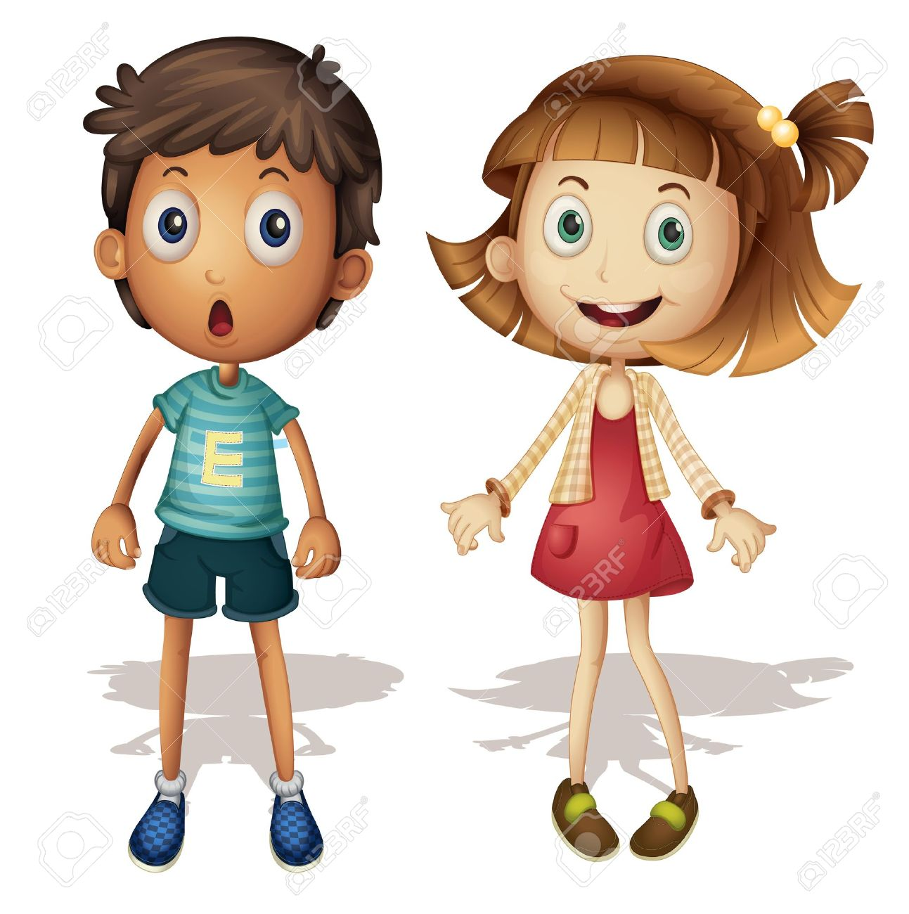 Illustration of a young girl and boy Stock Vector - 13988340