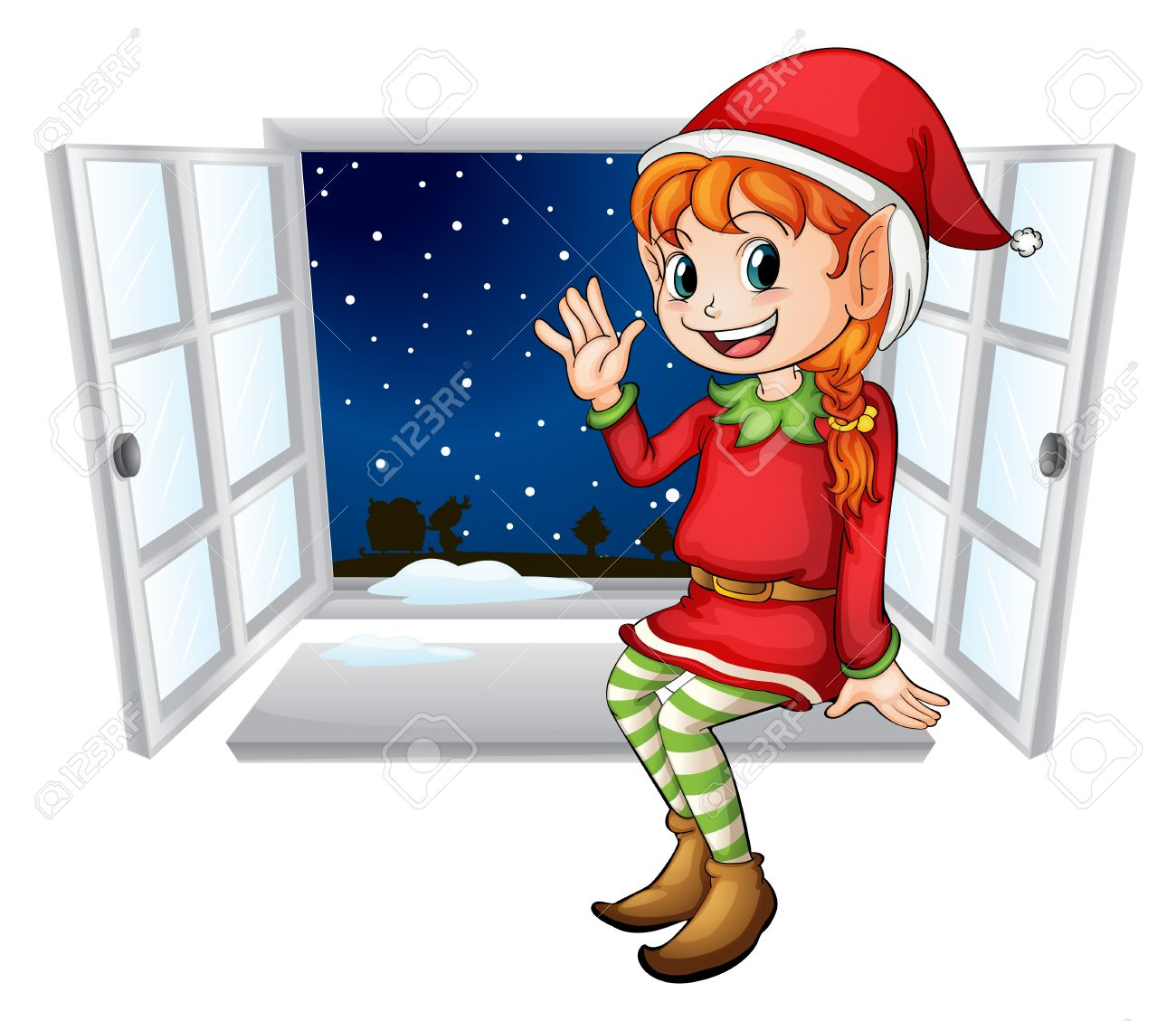 illustration of an elf in a window royalty free cliparts vectors