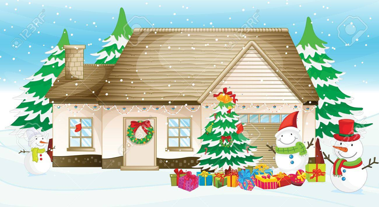 Illustration of a house at christmas Stock Vector - 13988321