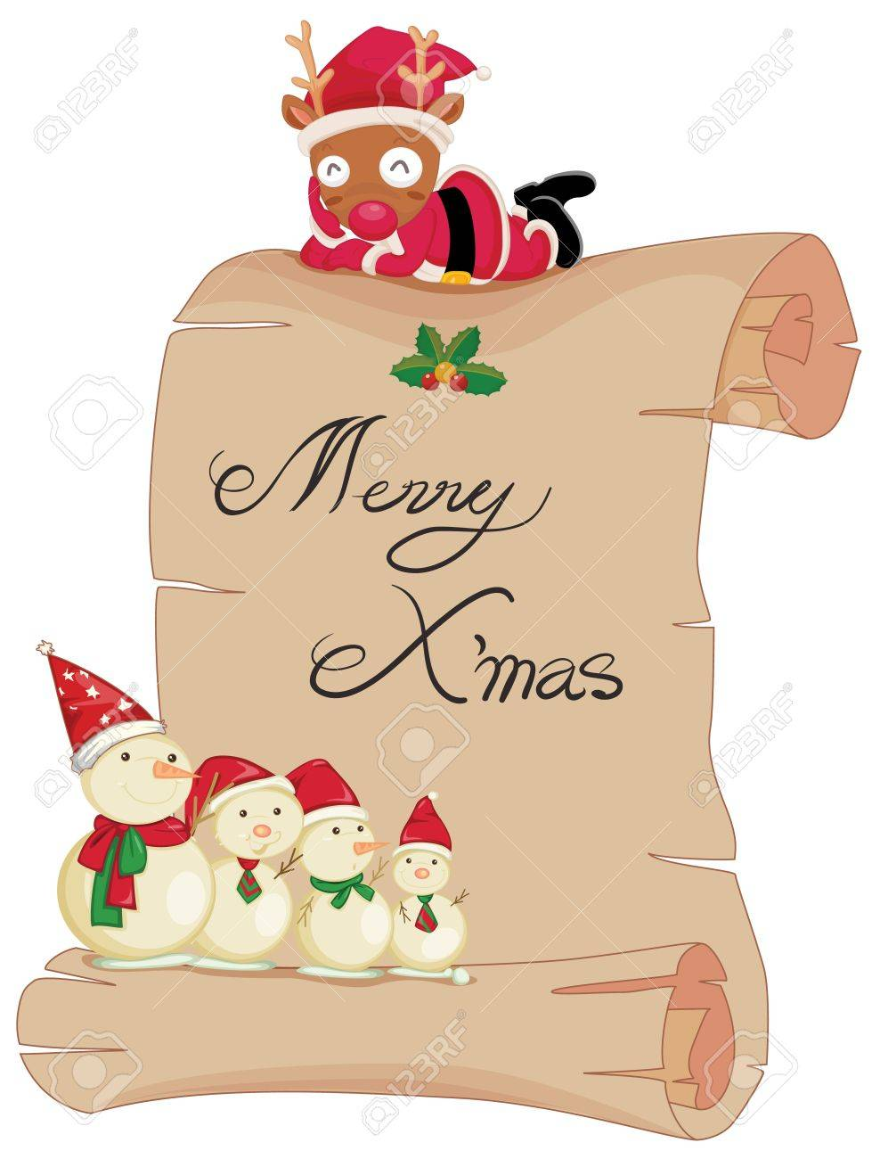 Illustration of a scroll with merry christmas Stock Vector - 13988349