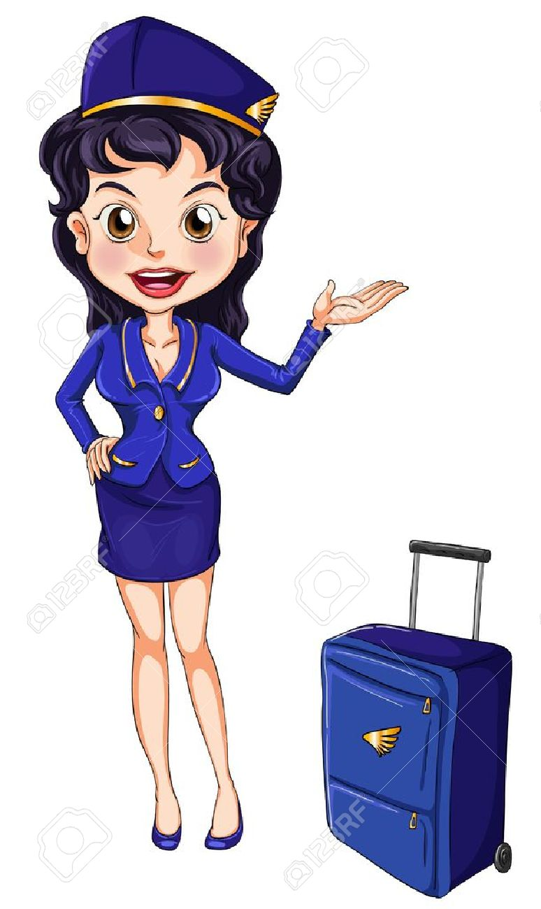 Illustration of an air hostess on white Stock Vector - 14009373